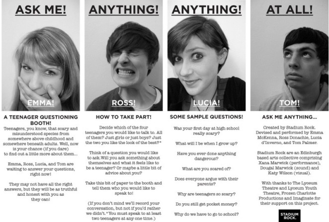 Ask Me Anything Anything Anything At All created by Stadium Rock for Imaginate Fringe. Image created by Dougal Marwick.